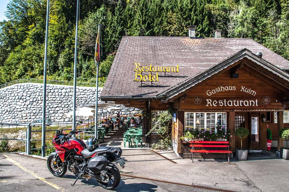 Die Terrasse des Gasthaus Kulm auf dem Brünigpass...