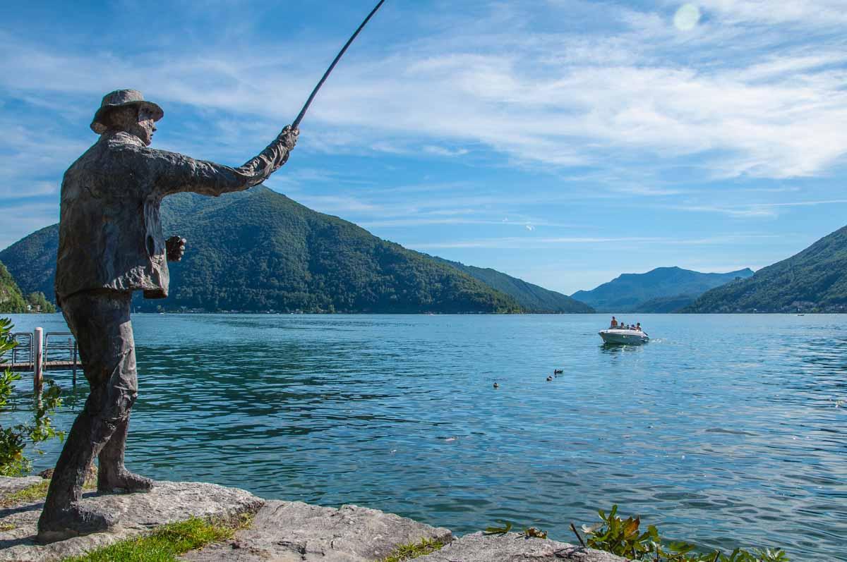 Bissone am Lago die Lugano. Ein ganz kleines Dorf mit einer ganz grossen Aussicht.