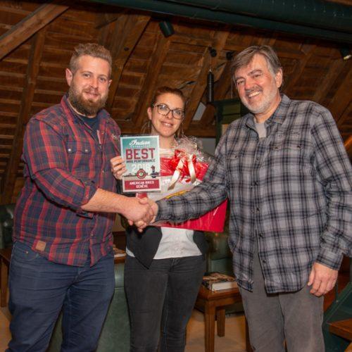 Benjamin Margueron und Elodie Murgier von American Bikes Geneva SA, Geneve und Stefan Vogel (Simota GmbH)