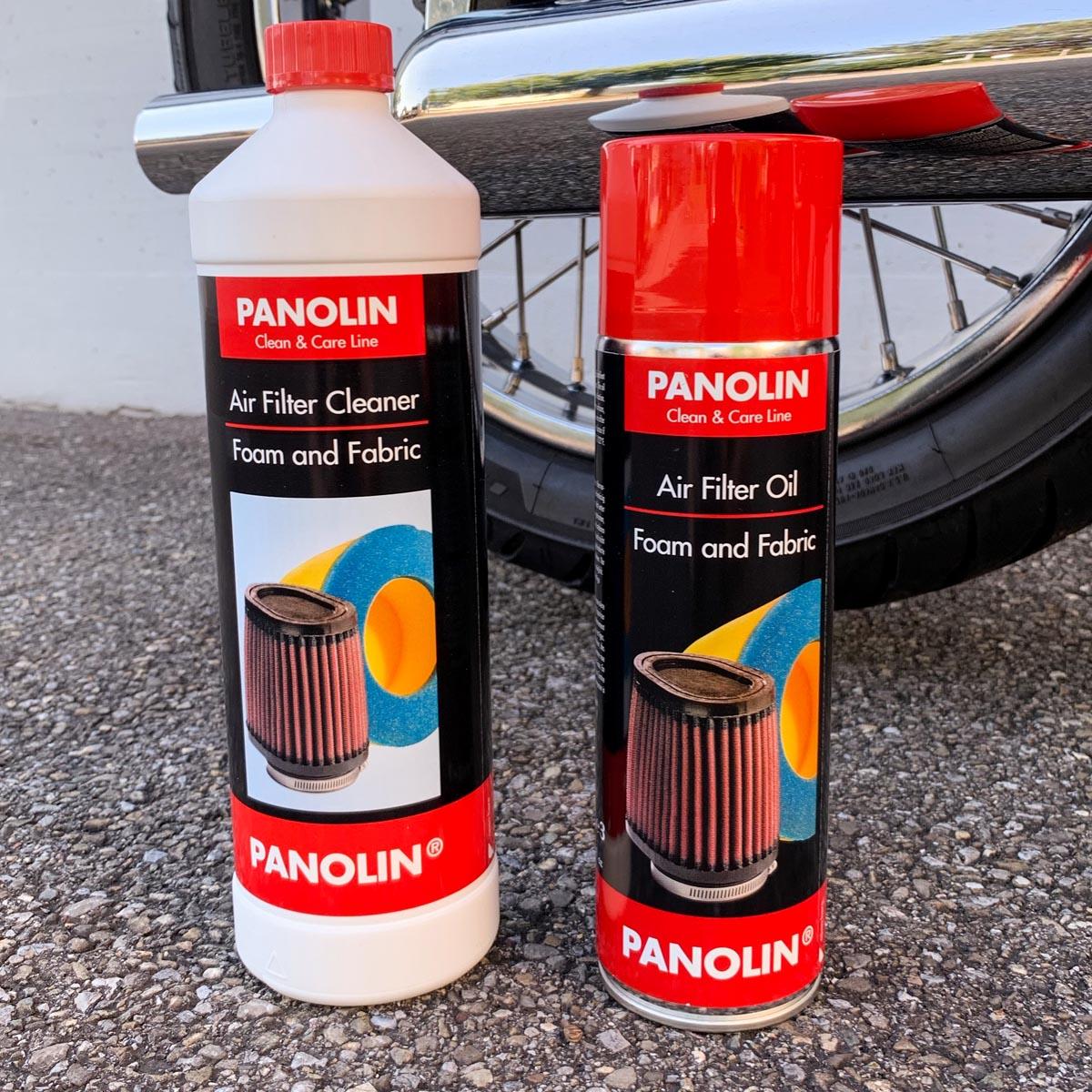Luftfilterreiniger PANOLIN AIR FILTER CLEANER & Luftfilteröl PANOLIN AIR FILTER OIL: Der gebrauchsfertige, lösungsmittelfreier Reiniger für Schaumstoff- und Baumwoll-Filterelemente auf Wasserbasis befreit jeden Luftfilter zuverlässig von Verschmutzungen und ist biologisch abbaubar.  Das Luftfilteröl für Schaumstoff- und Baumwoll-Filterelemente, reduziert wirksam das Eindringen von Sand, Staub und Wasser, haftet hervorragend uns sorgt für einen optimalen Luftdurchlass.