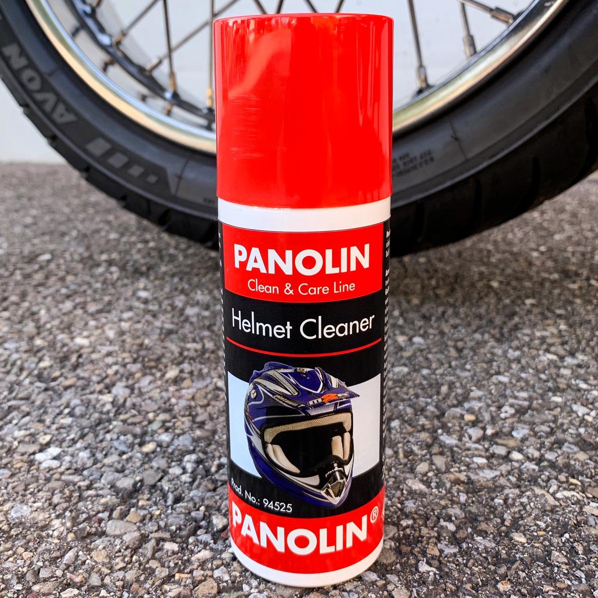 Helmreinigungsspray PANOLIN HELMET CLEANER Spray: Reinigungs- und Pflegeschaum für Helmschale und Innenpolster, verleiht einen angenehmen Duft und frischt Farben auf.