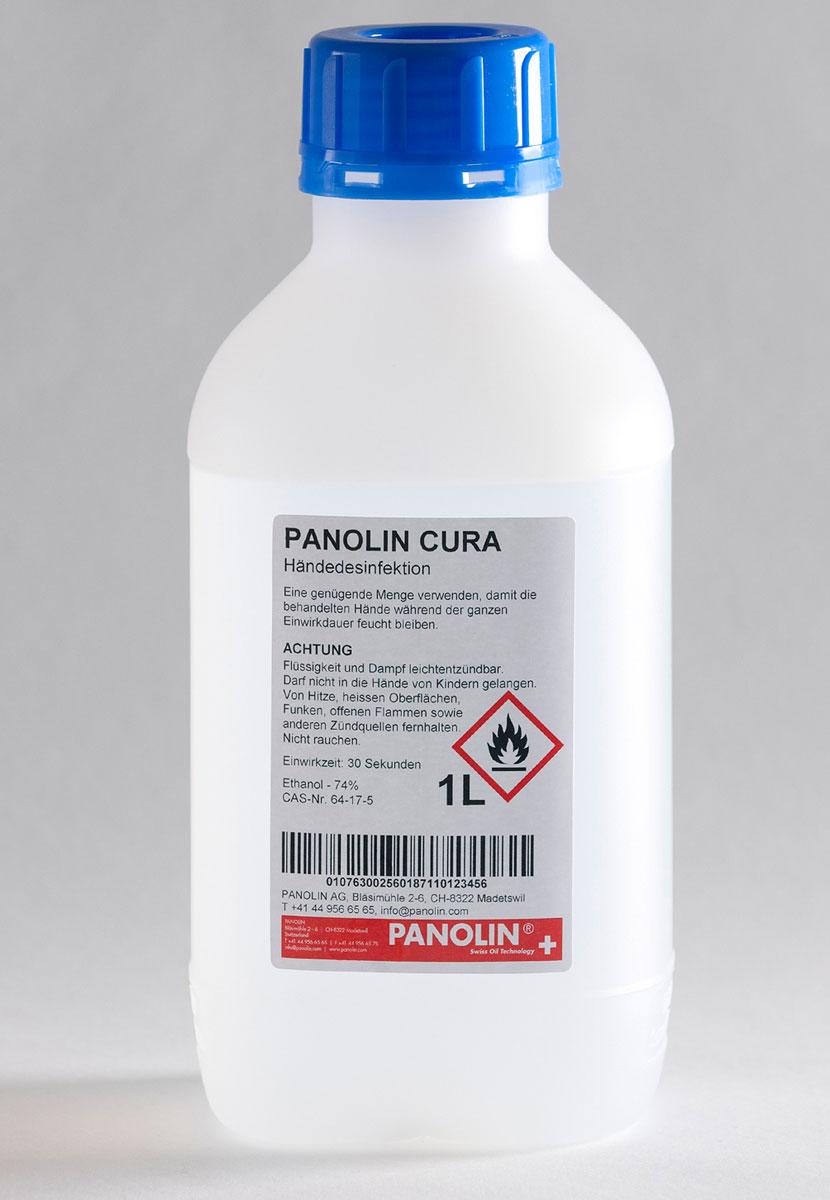 Aufgrund der Allgemeinverfügung vom 28.02.2020 des Bundesamtes «Anmeldestelle für Chemikalien» hat PANOLIN ihr eigenes Händedesinfektionsmittel namens PANOLIN CURA entwickelt. Da zur Zeit Desinfektionsmittel Mangelware sind, hat sich die Geschäftsleitung entschieden, einen aktiven Beitrag zu leisten, um die Versorgungslage zu unterstützen.