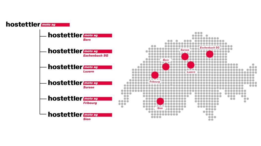 Die hostettler moto ag betreibt neu sechs Filialstandorte: in Sursee, Luzern, Eschenbach/SG, Fribourg, Sion und neu Bern.