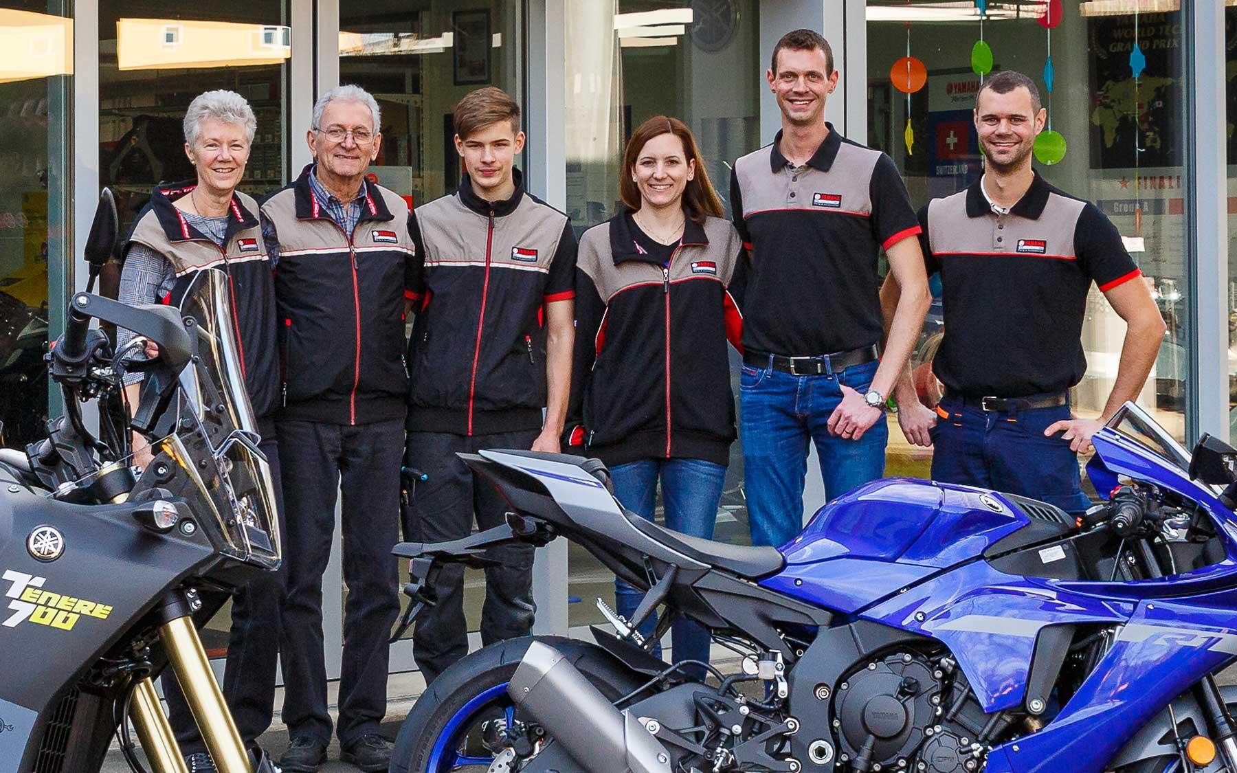 Das mathys motos ag Team (v.l.n.r.): Charlie, Jimmy, Lars, Sabrina, Philippe und Dominique