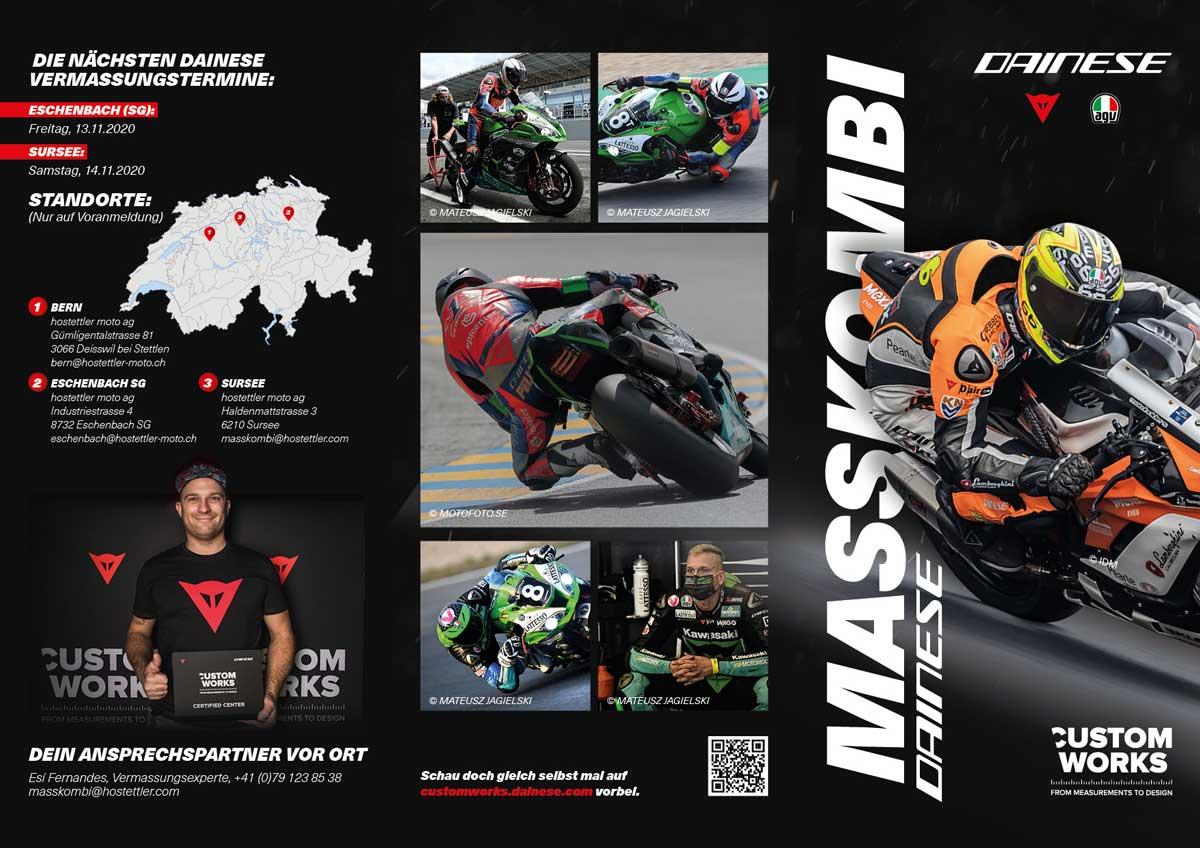 Die Masskombis von Dainese und von iXS sind als Ein- und Zweiteiler erhältlich und somit für Rennstrecken-Enthusiasten und -Enthusiastinnen sowie Tourenfahrer und -fahrerinnen gleichermassen geeignet.
