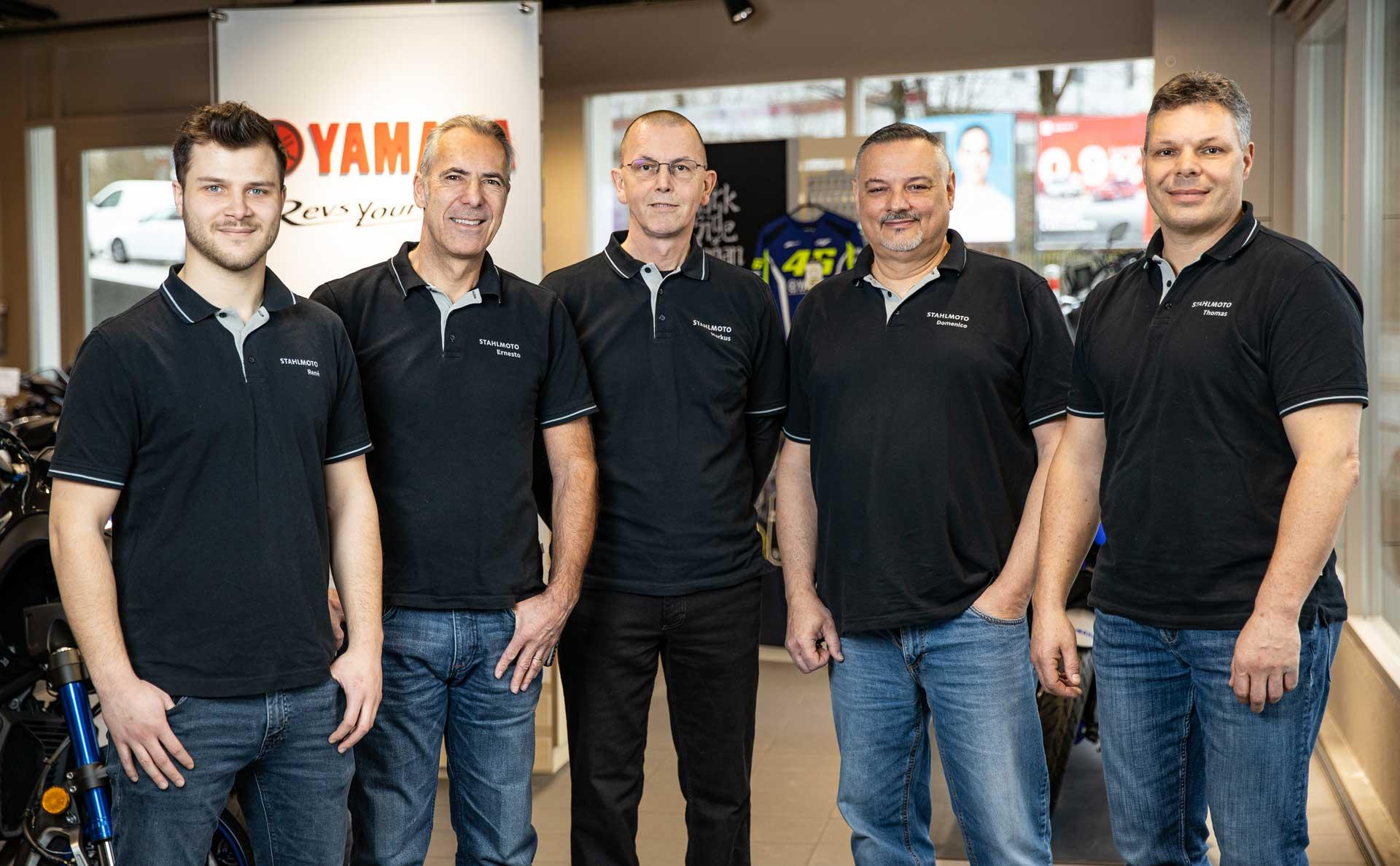 Das Stahlmoto-Team: René, Ernesto, Markus, Meno und Thomas.